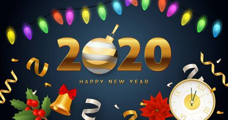 Happy New Year 2020 lettering with lights garland, clock, bell. New Year Day greeting card. Typed text, calligraphy. For leaflets, brochures, invitations, posters or banners.