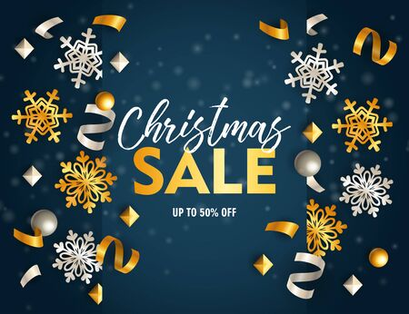 Christmas sale banner with ribbons and flakes on blue ground. Lettering can be used for invitations, post cards, announcements