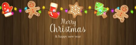 Merry Christmas banner with ginger bread on brown wooden ground. Lettering can be used for invitations, post cards, announcements