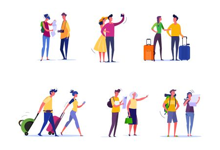 Travelers and passengers set. Tourists taking selfie, walking, carrying luggage, consulting map. People concept. Vector illustration for topics like activity, leisure, tourism
