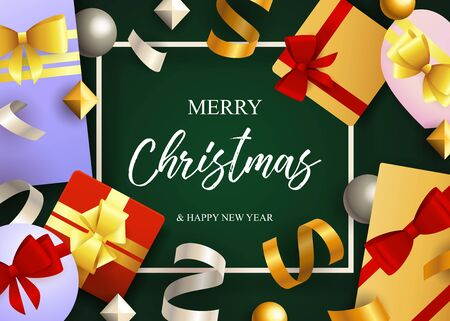 Merry Christmas lettering, gift boxes with ribbon bows. Christmas greeting card. Handwritten and typed text, calligraphy. For leaflets, brochures, invitations, posters or banners.