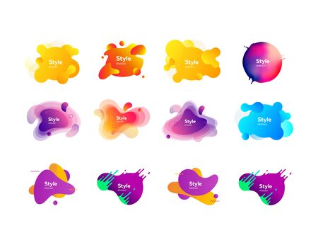Set of bright creative graphic elements. Dynamical colored forms. Gradient banners with flowing liquid shapes. Template for design  presentation. Vector illustration