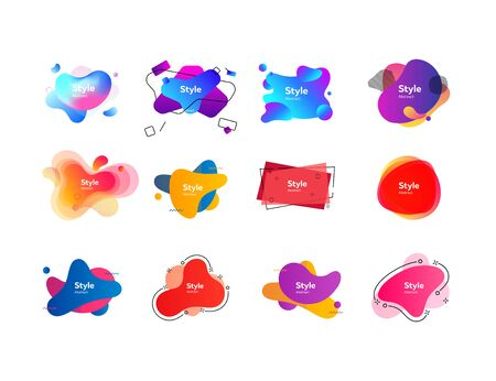 Set of vivid abstract geometric shapes. Dynamical colored forms. Gradient banners with flowing liquid shapes. Template for design. Vector illustration