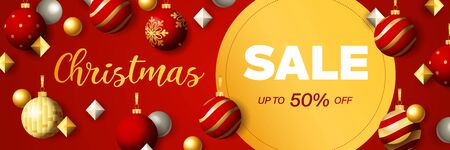 Christmas Sale banner design with discount circular label. Festive decoration on red background. Vector illustration for advertising design, flyer and poster templates