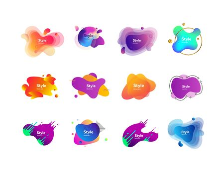 Modern abstract banners set. Multicolored strokes and shapes on white background. Trendy minimal templates for presentations, banners, apps and web pages. Vector illustration Stock Vector - 130159632