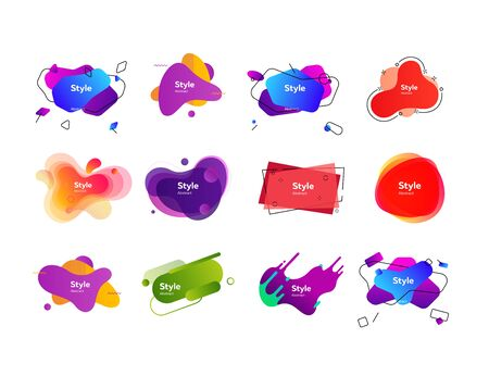 Set of multi-colored abstract design shapes. Dynamical colored forms and line. Template for design of logo, flyer. Vector illustration. Can be used for advertising, marketing, presentation