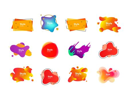 Set of bright gradient flowing shapes. Dynamical colored forms. Vector illustration. Can be used for advertising, marketing, presentation 向量圖像