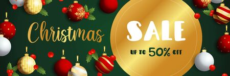 Christmas Sale banner design with golden label, mistletoe and hanging balls on dark green background. Vector illustration for advertising design, flyer and poster templates