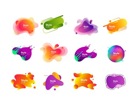 Set of vibrant abstract dynamical shapes. Gradient banners with flowing liquid shapes. Template for design presentation. Vector illustration 向量圖像