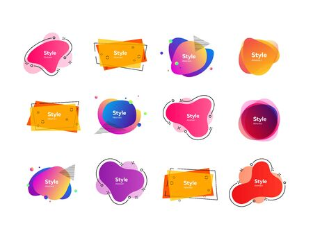 Bright multi-colored abstract forms. Dynamical colored forms and dots. Gradient banners with flowing liquid shapes. Template for design of website, leaflet, commercial. Vector illustration Stock Vector - 130159645
