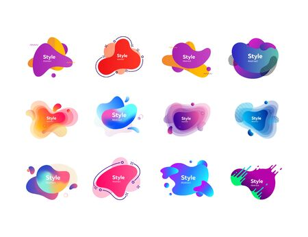 Set of multi-colored flowing liquid abstract graphic elements. Dynamical colored forms. Gradient banners with flowing liquid shapes. Template for design of logo, flyer or presentation