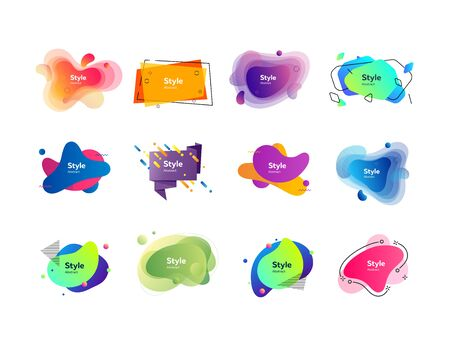 Gradient abstract banners with text sample. Dynamical colored forms. Gradient banners with flowing liquid shapes. Template for design of banner, blog or presentation. Vector illustration