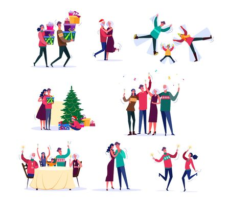 Set of families celebrating New Year. Group of children and parents enjoying holiday together. Christmas celebration concept. Vector illustration can be used for presentation, project, webpage