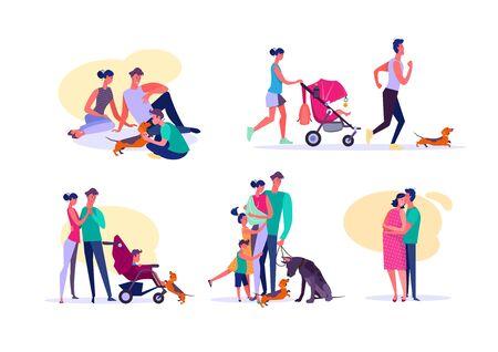 Conjunto de familias felices. Padres e hijos disfrutando del tiempo juntos. Concepto de familia feliz. La ilustración vectorial se puede utilizar para presentaciones, proyectos, páginas web.