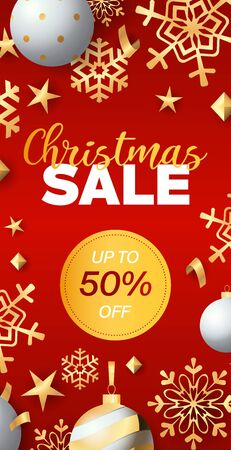 Christmas Sale flyer design with discount tag. Gold snowflakes, baubles and stars on red background. Vector illustration for advertising design, vertical banner and poster templates Иллюстрация