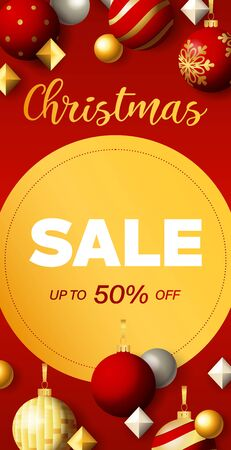 Christmas Sale flyer design with discount circular label. Festive decoration on red background. Vector illustration for advertising design, vertical banner and poster templates
