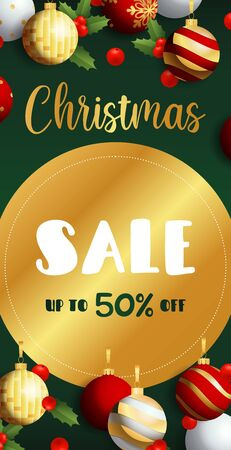 Christmas Sale flyer design with golden label, mistletoe and hanging balls on dark green background. Vector illustration for advertising design, vertical banner and poster templates