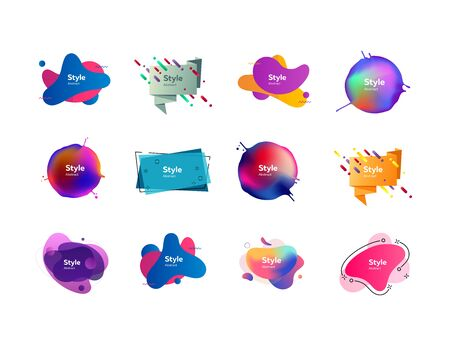 Geometric colorful badges set. Abstract geometric figures and lines on white background. Trendy minimal templates for presentations, banners, posters and flyers. Vector illustration