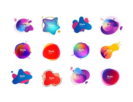 Set of creative multi-colored bubble-shaped objects. Dynamical colored forms and line. Gradient banners with flowing liquid shapes. Template for design presentation