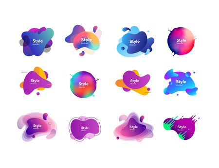 Set of abstract backgrounds. Dynamical colored forms and line. Gradient banners with abstract elements. Template for design or presentation. Vector illustration