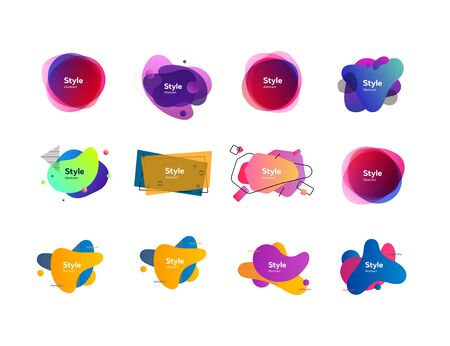 Colorful abstract liquid shapes set. Bright liquid figures with sample text. Trendy minimal templates for presentations, banners, flyers and posters. Vector illustration Illustration