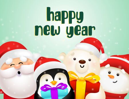 New Year postcard design with cute penguin, Santa, polar bear and snowman holding gifts on light green background. Vector illustration for Christmas posters, greeting and invitation card templates