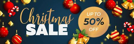 Christmas Sale banner design with balls, candy canes, bells, mistletoe on blue background. Vector illustration for advertising design, flyer and poster templates Ilustrace