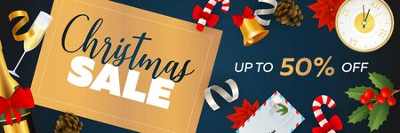 Christmas Sale banner design with champagne, clock, postcard, bell, mistletoe on blue background. Vector illustration for advertising design, flyer and poster templates