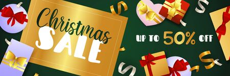 Christmas Sale banner design with golden badge, streamer and gift boxes on dark green background. Vector illustration for advertising design, flyer and poster templates  イラスト・ベクター素材