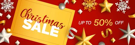 Christmas Sale banner design. Gold and silver baubles, stars, streamer, snowflakes on red background. Vector illustration for advertising design, flyer and poster templates  イラスト・ベクター素材