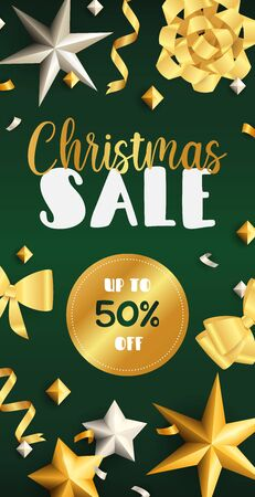 Christmas Sale flyer design with golden ribbons, streamer and stars on dark green background. Vector illustration for advertising design, vertical banner and poster templates  イラスト・ベクター素材