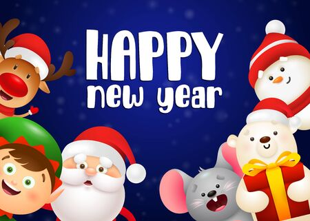 Happy New Year lettering, Santa Claus, polar bear with gift box. New Year Day greeting card. Typed text, calligraphy. For leaflets, brochures, invitations, posters or banners.