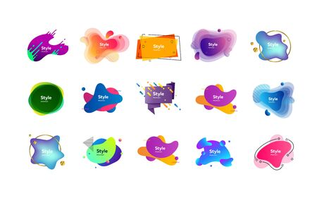 Irregular multicolored abstract elements set. Bright dynamic shapes and lines with sample text. Trendy minimal templates for presentations, banners, apps and web pages. Vector illustration Illustration