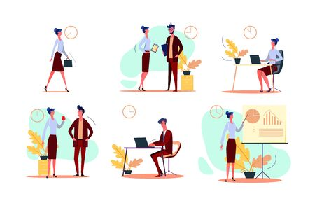 Business day set. Businesswoman walking to office, using laptop, talking to colleague, holding presentation. People concept. Vector illustration for topics like schedule, occupation