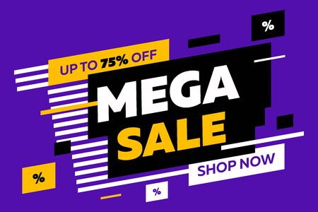 Abstract diagonal forms for sale flyers on violet background. Dynamic shapes and lines, Mega Sale, Shop now text. Vector illustration for advertising design, banner and poster templates Illustration