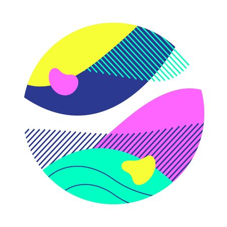 Purple, cyan, yellow, violet abstract circle. Circular form with hatching, regular round shape, wavy lines. Vector illustration for print, flyer, design Illustration