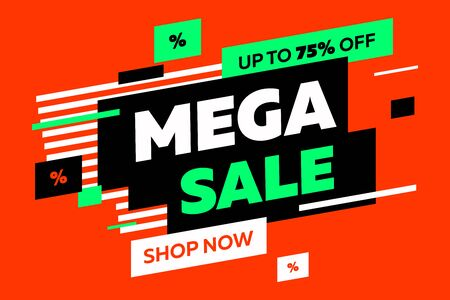 Abstract diagonal forms for sale flyers on red background. Dynamic shapes and lines, Mega Sale, Shop now text. Vector illustration for advertising design, banner and poster templates