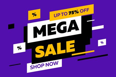 Abstract diagonal shapes for sale flyers on violet background. Dynamic shapes and lines, Mega Sale, Shop now text. Vector illustration for advertising design, banner and poster templates