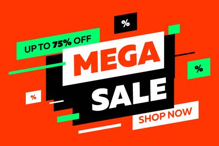 Abstract diagonal shapes for sale flyers on red background. Dynamic shapes and lines, Mega Sale, Shop now text. Vector illustration for advertising design, banner and poster templates Foto de archivo - 131287766