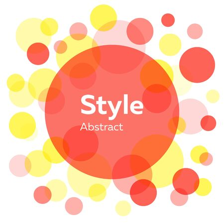 Red, yellow, pink abstract circles. Transparent round shapes, bubbles, geometric elements. Vector illustration for label, poster design Stock Vector - 131287772