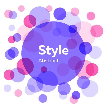 Pink, purple, blue abstract circles. Transparent round shapes, bubbles, geometric elements. Vector illustration for label, flyer design