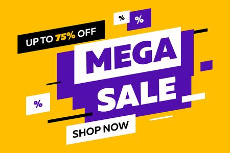 Abstract elements for sale flyers on yellow background. Dynamic shapes and lines, Mega Sale, Shop now text. Vector illustration for advertising design, banner and poster templates Foto de archivo - 131287777