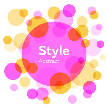 Purple, yellow, lilac and red abstract circles. Transparent round shapes, bubbles, geometric elements. Vector illustration for label, flyer design Illustration