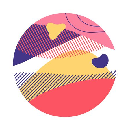 Pink, yellow, blue abstract circle. Circular form with hatching, regular round shape, wavy lines. Vector illustration for print, flyer, design Stock Vector - 131287780