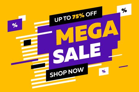 Abstract diagonal forms for sale flyers on yellow background. Dynamic shapes and lines, Mega Sale, Shop now text. Vector illustration for advertising design, banner and poster templates