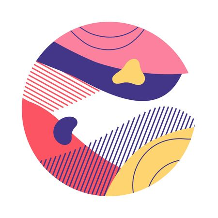 Yellow, pink, violet abstract circle. Circular form with hatching, regular round shape, wavy lines. Vector illustration for print, flyer, design Stock Vector - 131287782