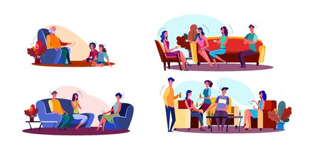 Friendly meeting illustration set. Children visiting grandpa, people talking in living room, friends enjoying party. Communication concept. Vector illustration for banners, posters, website design Foto de archivo - 131288052