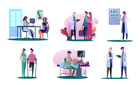 Consulting doctor illustration set. Pregnant woman, young couple with baby, man with trauma visiting doctor. Healthcare concept. Vector illustration for banners, posters, website design