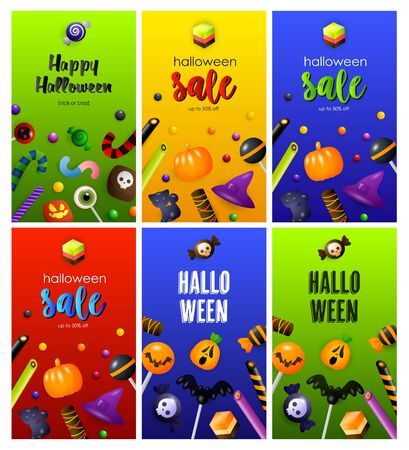 Halloween red, green, blue banner set with sweets. Halloween, October, trick or treat. Lettering can be used for greeting cards, invitations, announcements Illustration
