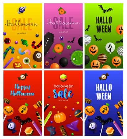 Halloween red, green, orange banner set with sweets, coffin. Halloween, October, trick or treat. Lettering can be used for greeting cards, invitations, announcements
